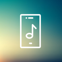 Phone with musical note thin line icon