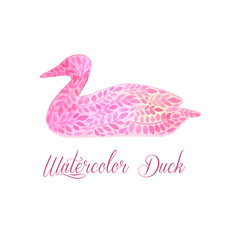 Patterned floral watercolor duck vector illustration