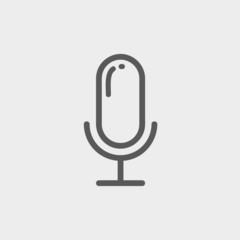 Old microphone thin line icon
