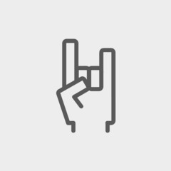 Rock hand thin line icon