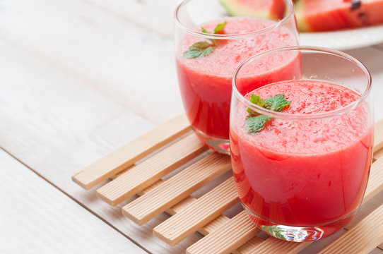 Fresh watermelon juice in the glass.Selective focus on the front
