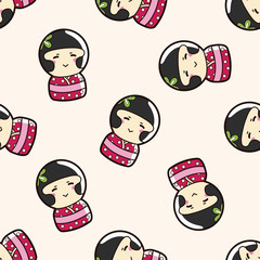 person character Japanese , cartoon seamless pattern background