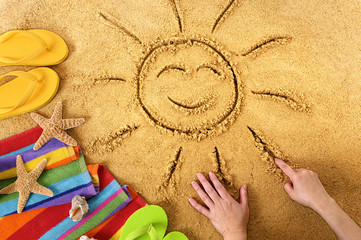 Summer beach smiling sun