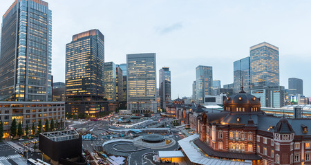Tokyo station with the city downtown surround