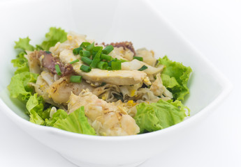 Fried Noodles with Chicken on white background