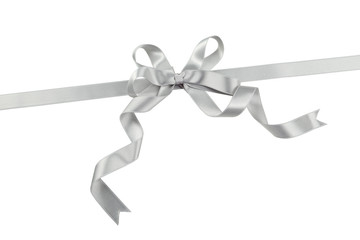 Silver bow on white background
