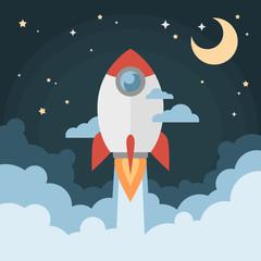 Cartoon modern flat rocket launch flying in space