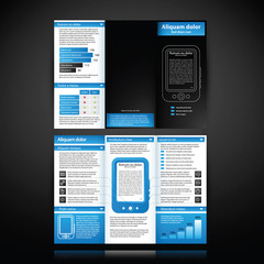 Blue-colored brochure template with tablet pc illustration.