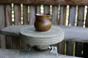 Celtic jar on pottery wheel