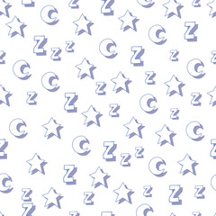 Flat stars, moons and z with shadows on white background