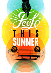 Summer time retro poster. Vector typographical design.