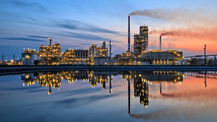 Oil refinery at dusk. HDR - high dynamic range