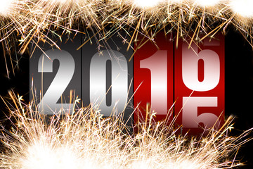 Happy New Year 2015 with sparkles