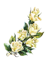 white roses watercolor