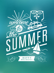 Summer typographic retro poster with blurry background.