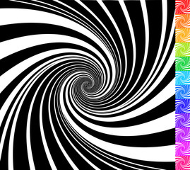 Abstract rotating shapes. Dynamic swirling, twirling backgrounds