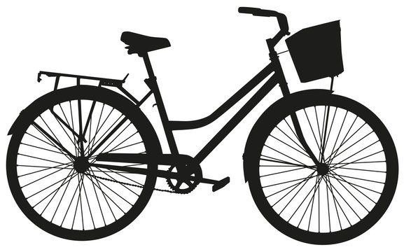 Black vector silhouette of bicycle with basket