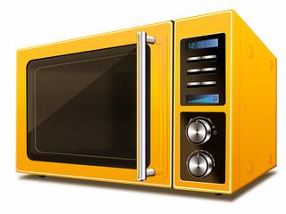 Moderne Mikrowelle, gelb, freigestellt