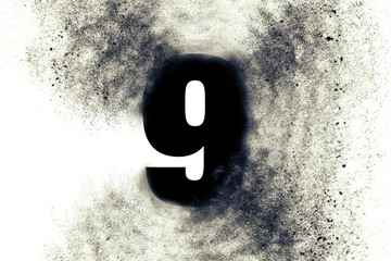 Character Number 9 nine with particles on absrtact background