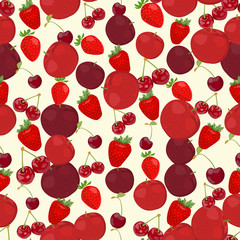 Seamless colorful background made of red apple, cherry and straw