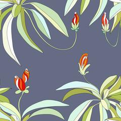 Rainforest,, floral seamless wallpaper