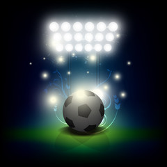 soccer ball with stadium spotlight