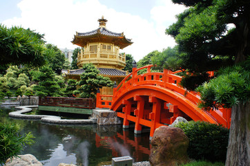 Golden pavilion with red bridge in Chinese garden