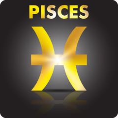 Astrology. Pisces. Astrological sign from gold.