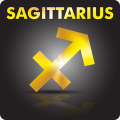 Astrology.Sagittarius. Astrological sign from gold.