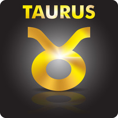 Astrology. Taurus. Astrological sign from gold.