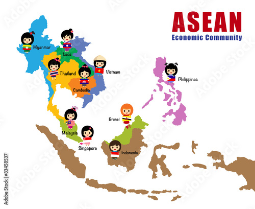 Cartoon map of Asean asia south east asia AEC Stock image and