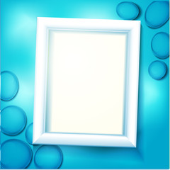Frame under water, blue background with sea pebbles and waves