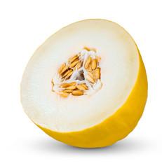 Fresh Juicy Honeydew melon Slice isolated on white background