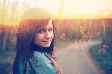 Brunette happy young girl portrait poppy field double exposure