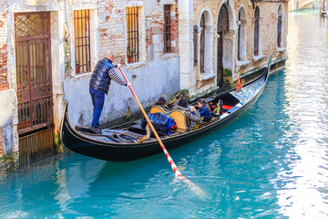 Foto op Aluminium Venetie Gondola with tourists. Venice. Italy