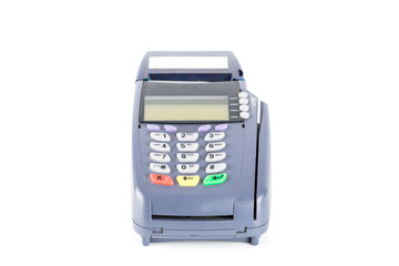 Credit card machine isolated on white background (with clipping