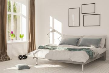 Schlafzimmer mit Bett und Fenster