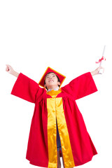 Cute Little Boy Wearing Red Gown Kid Graduation With Mortarboard
