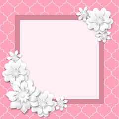 pink image frame with white 3d flowers