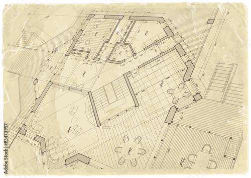 Architecture blueprint house plan old paper texture stock image architecture blueprint house plan old paper texture malvernweather Images