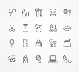 Vector beauty outline icon set