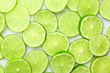 Sliced fresh limes, closeup