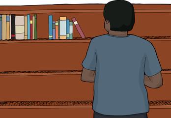 Man Looking at Top of Shelf