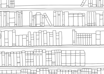 Outline of Large Shelf with Books