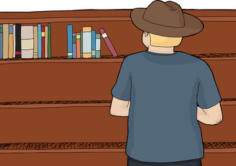Person in Hat Browsing Books