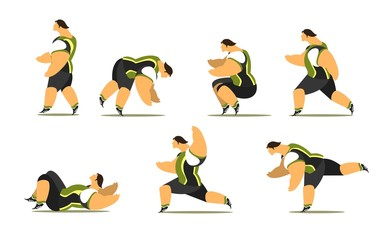 Athlete in different poses