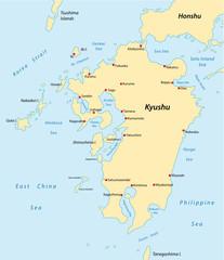 Spoed Foto op Canvas Wereldkaart kyushu map