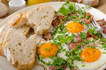 Spring omelette with bacon, egg and herbs