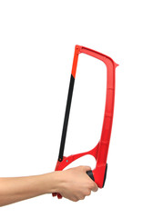 Red Hand saw for wood and metal cutting isolated