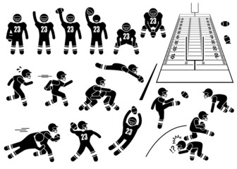 American Football Player Actions Poses Cliparts